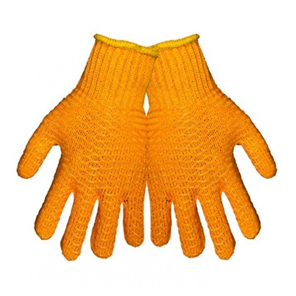 Global Glove S975 String Knit Glove Silicone Honey Comb Grip, Size Large, Dozen Pairs