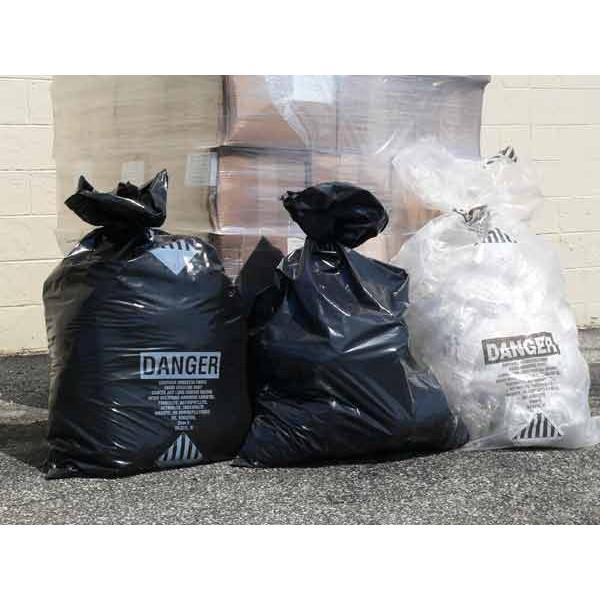 Asbestos Black Bags: 33x50x6Mil-75/rl. Printed
