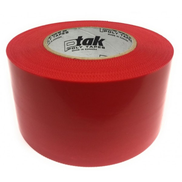Red Polyethylene Abatement Tape, 3'', 16 Rolls/Case
