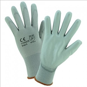 West Chester 713SUCG/S PU Palm Coated Gray Nylon Gloves,Small (Pack of 12)