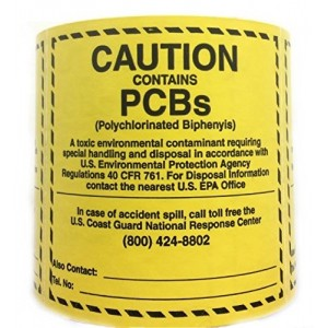 "6"" x 6"" CAUTION CONTAINS PCBs 500 count Roll"
