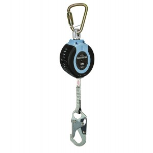 FallTech 82710SC1 DuraTech 10' Compact Web SRL - 10' Compact Web SRD, Steel Carabiner with Captive Pin, and Steel Snap Hook Leg-end Connector, 10', Blue/Black