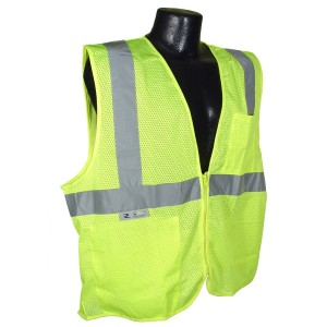 Radians SV2ZGSM Polyester Solid Knit Economy Class 2 High Visibility Vest with Zipper Closure, Medium, Green