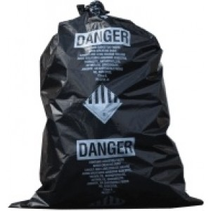 Asbestos Black Bags: 30x40 4Mil, Printed