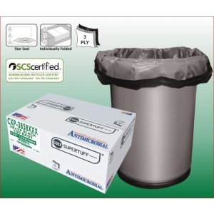 """38"""" x 58"""" LEED Certified Black Contractor Trash Bag, 3 Ply COEX w/ Star Sealed Bottom 100/case"""