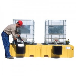 Ultra-No Drain Twin IBC Spill Pallet w/ 2 Bucket Shelves