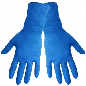 "Global Glove 805PF Nitrile Glove with Rolled Cuff, Disposable, Powder Free, 8 mils Thick, 11"" Length, Extra Large"