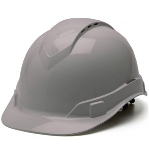 Pyramex Ridgeline Vented Cap Style 4 Pt Ratchet Suspension Hard Hat, Gray