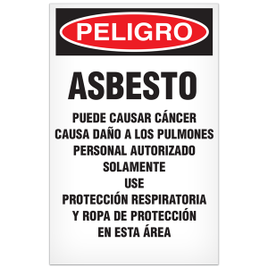 "Asbestos Warning Signs 11""x17"" Spanish/pack 100"