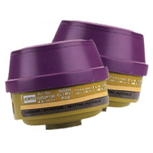 North Combo Cartridge 75852-P100/Mercury Vapor/Chlorine 2/pk
